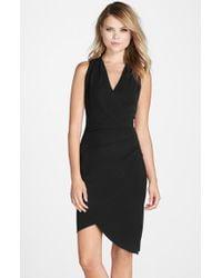Nicole Miller - Black 'Stephanie' Jersey Faux Wrap Dress - Lyst
