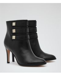 Reiss | Black Lerici Round-toe Ankle Boots | Lyst