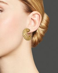 Roberto Coin - Metallic 18k Yellow Gold Plated Sterling Silver Stingray Small Hoop Earrings - Lyst
