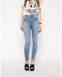 ASOS - White Ridley Skinny Ankle Grazer Jeans In Mystic Wash With Ripped Knee - Lyst