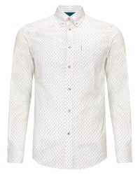 Ben Sherman - White Scattered Print Long Sleeve Shirt for Men - Lyst