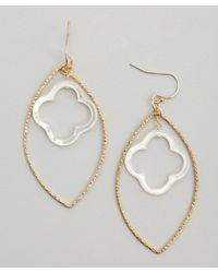 Soixante Neuf | Metallic Gold Marquis And Clover Drop Earrings | Lyst