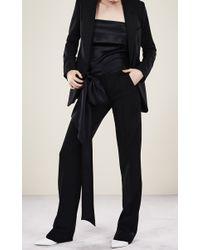Adam Lippes - Black Wool Stretch Crepe Tuxedo Pant - Lyst