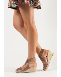 Johnston & Murphy - Metallic Ainsley Wedge Espadrille Bronze Suede - Lyst