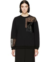 Christopher Kane - Black Lace Patchwork Sweatshirt - Lyst