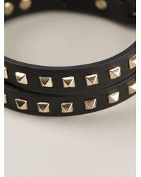 Valentino - Black Rockstud Bracelet - Lyst