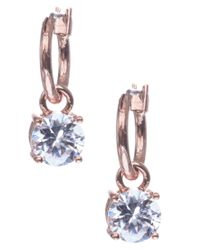 Anne Klein | Blue Rose Gold Crystal Drop Earrings | Lyst