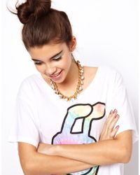 ASOS - White Scatter Stone Necklace - Lyst