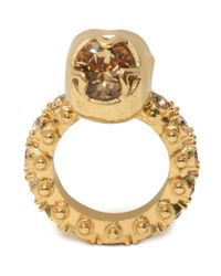 Alexander McQueen - Metallic Jewelled Skull Ring - Lyst