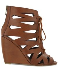 MIA - Brown Juna Caged Lace-Up Wedge Sandals - Lyst