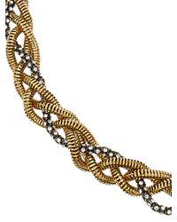 Diane von Furstenberg - Metallic Hematite Crystal-embellished Plaited Chain Neckace - Lyst
