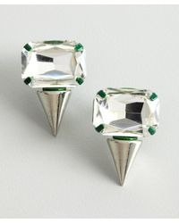 Noir Jewelry - Silver and Green Crystal Spike Earrings - Lyst