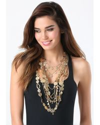 Bebe | Metallic Coin & Drape Chain Necklace | Lyst