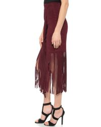 Tamara Mellon | Purple Layered Fringe Silk Skirt | Lyst