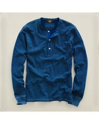 RRL | Blue Dotprint Indigo Henley for Men | Lyst