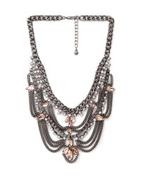 Forever 21 | Metallic Tiered Rhinestone Bib Necklace | Lyst