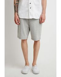 Forever 21 - Gray Drawstring Varsity-striped Shorts for Men - Lyst