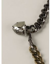 Lanvin   Metallic Long Chain Crystal Necklace   Lyst
