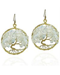 Aeravida | Metallic Eternal Tree Of Life Moonstone Branch Brass Dangle Earrings | Lyst