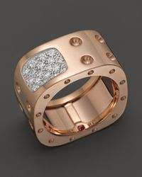 Roberto Coin | Pink 18K Rose Gold & Diamond Pois Moi Square Ring | Lyst
