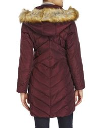 Jones New York | Purple Chevron-Quilted Faux Fur Trim Coat | Lyst