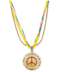 Betsey Johnson - Multicolor Gold-Tone Colorful Peace Sign Long Pendant Necklace - Lyst