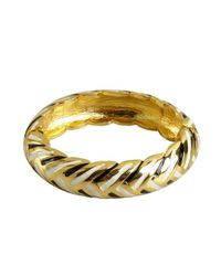 Kenneth Jay Lane | Metallic Gold And Striped Snap Bangle | Lyst
