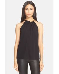 Diane von Furstenberg | Black 'Aubrey' Chain Collar Silk Sleeveless Top | Lyst