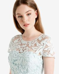 Ted Baker - Blue Floral Lace Dress - Lyst