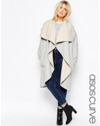 ASOS - Gray Curve Oversized Waterfall Coat - Lyst