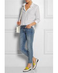 Equipment - White Brett Picottrimmed Cotton Shirt - Lyst