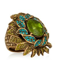 Oscar de la Renta | Green Sunburst Goldplated Resin and Crystal Ring | Lyst