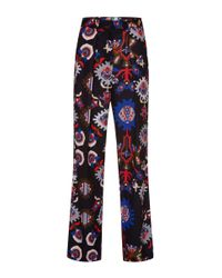 MSGM | Multicolor Mechanical Floral Print Wide Leg Pant | Lyst