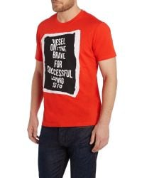 DIESEL | Red T-pasc Regular Fit Frame Graphic T-shirt for Men | Lyst