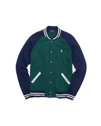 Polo Ralph Lauren - Green Fleece Baseball Jacket for Men - Lyst