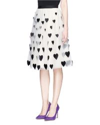 Alice + Olivia | Multicolor 'catrina' Heart Appliqué Tulle Midi Skirt | Lyst