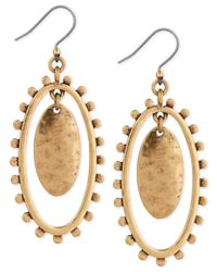 Lucky Brand - Metallic Gold-tone Double Oval Drop Earrings - Lyst