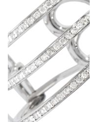 Lynn Ban - Metallic Trilogy Sterling Silver Diamond Earrings - Lyst
