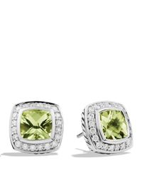 David Yurman | Metallic Petite Albion Earrings With Prasiolite & Diamonds | Lyst