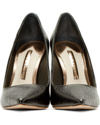 Sophia Webster | Black Croc_embossed Coco Flamingo Pumps | Lyst