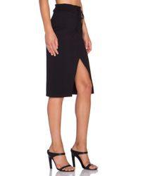 Monrow - Black Retro Wrap Midi Skirt - Lyst