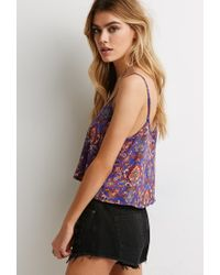 Forever 21 | Blue Paisley Print Cropped Cami | Lyst