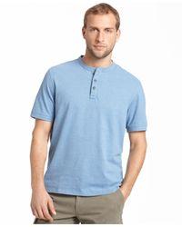 G.H. Bass & Co. | Blue Heathered Henley T-shirt for Men | Lyst
