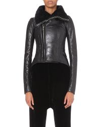 Rick Owens | Black Coated Shearling Jacket | Lyst