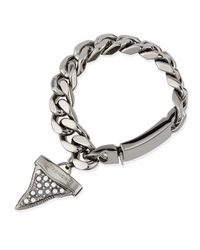 Givenchy | Gray Gunmetal Shark Tooth Bracelet With Pearls | Lyst