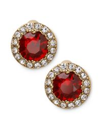 Lauren by Ralph Lauren | Red 14k Goldplated Round Faceted Garnet Glass Stone Stud Earrings | Lyst