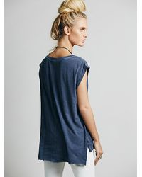 Free People - Blue Destroyed Muscle Tee - Lyst