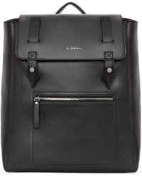 DIESEL - Black Leather Flap Backpack - Lyst