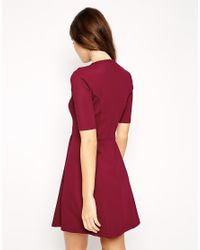 ASOS - Purple Skater Dress In Texture With Funnel Neck - Lyst