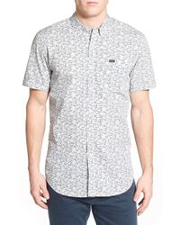 RVCA | White 'right You Are' Trim Fit Short Sleeve Print Woven Shirt for Men | Lyst